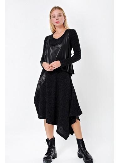 Jument Kadın Suni Deri Yelekli Rahat Asimetrik Kesim Triko Elbise (Ikili Takım)-Siyah Siyah